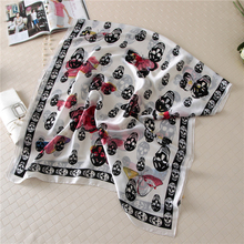 Vanled new 2017 women scarf long size soft silk scarves beach covers brand skull print smooth female shawls wraps summer bandana