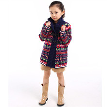 Girls Cardigan Casual Embroidery Floral Long Knitted Sweater Children Fashion Kids Cardigan With Button New Autumn Girls Sweater
