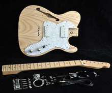 DIY Electric Guitar Kit Vintage '72 TL Thinline Guitar Semi-Hollow Ash Body With F Holes Maple Neck 21 FretsTruss Rod adjust