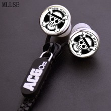 MLLSE Anime One Piece Luffy Pirates Skull Zipper Cable Earphone Wired Stereo In-ear Earbuds Earphones Headset for Iphone Samsung