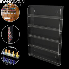 Clear Acrylic Nail Polish Rack Wall Mount Storage Showing Shelf Nails Art Tools 5 Tier Salon Manciure Exhibition Display Stand