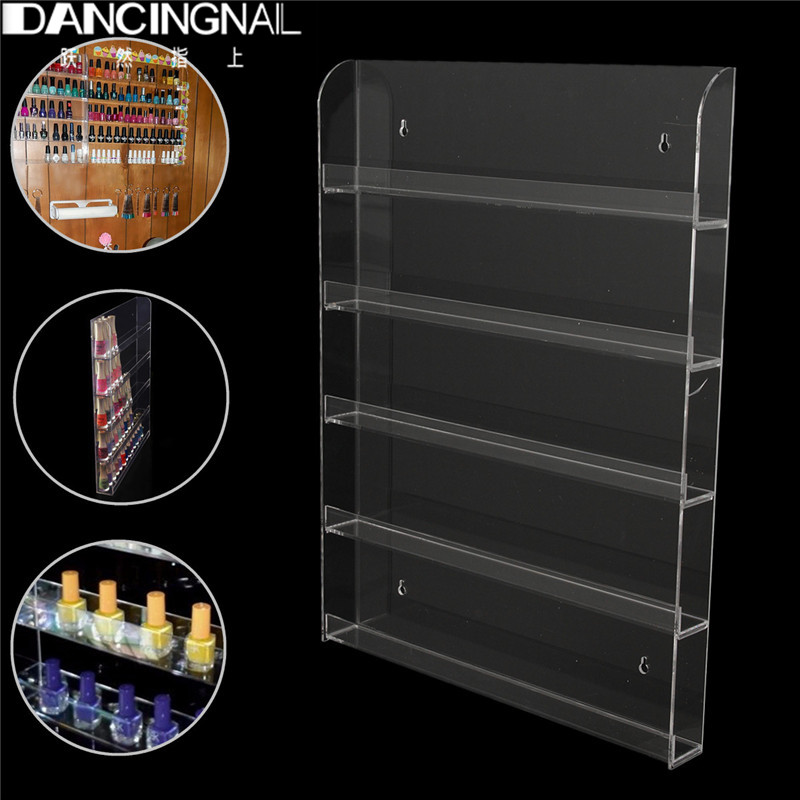 Clear Acrylic Nail Polish Rack Wall Mount Storage Showing Shelf Nails Art Tools 5 Tier Salon Manciure Exhibition Display Stand<br><br>Aliexpress