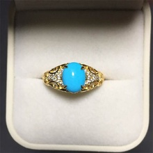 Haleigha Latest Design 925 Sterling Silver Nature Gemstone Turquoise Deco Antique Yellow Gold Color Face Rings for Girls Women