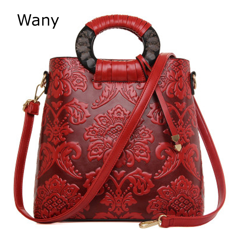 Leather womens handbag Chinese style vintage national bags pressure decorative pattern commercial portable one shoulder bag<br>