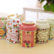 Zakka Floral food sealed canisters sundries storage iron tea tin cans Seasoning Pot Spice Jars Sale Kitchen Canisters Box(China)
