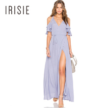 IRISIE Apparel 2017 Blue Women Dress Deep V-Neck Side Split Off-shoulder Elegant Vestidos Butterfly Sleeve Sexy Maxi Dress(China)