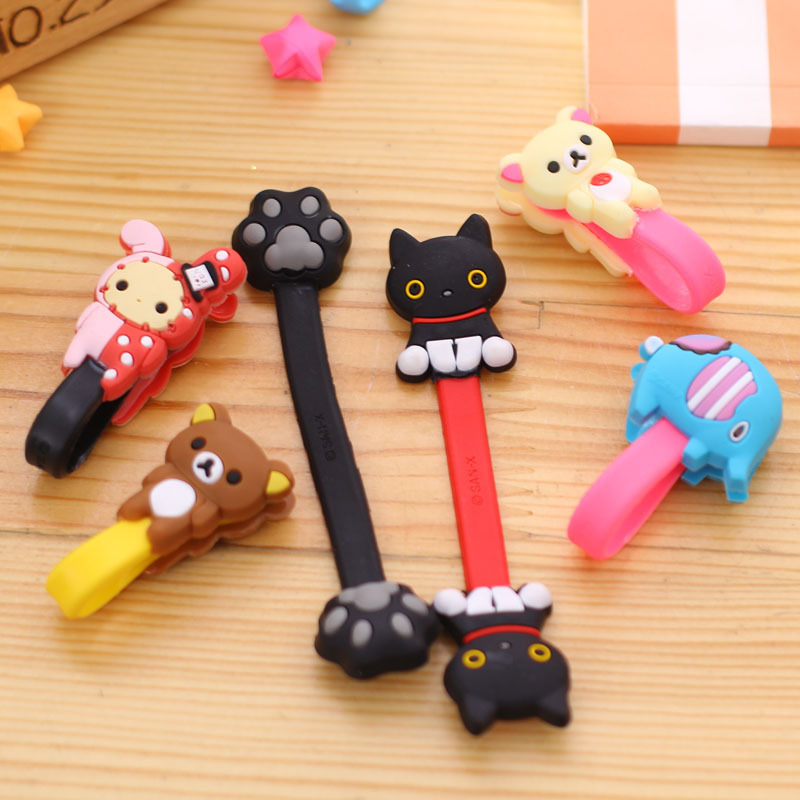 10pcs/lot Lovely Elephant Bear Cartoon Cable Winder Headphone Earphone Cable Wire Organizer Cord Holder For iphone samsung(China)