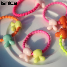 50pcs isnice 2017 korean Fashion Cute Kids Elastic Hair Rope Ponytail Holder Band Ties Girls Hair Accessories(China)