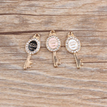 MRHUANG 10pcs/pack Crown Key Rhinestone Enamel Charms Alloy Oil drop Pendant fit for bracelet DIY Fashion Jewelry Accessories