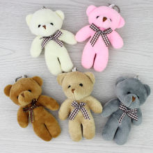 New 11cm 12pcs Lovely Teddy bear plush toys small doll bears for wedding cartoon flower bouquet christmas Promotion Gifts
