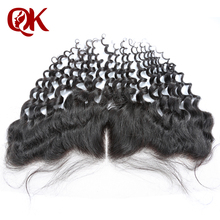 QueenKing Hair Pre Plucked 13x4  Lace Frontal With Baby Hair Peruvian Remy Human Hair Deep Wave Natural Black Lace Front Closure