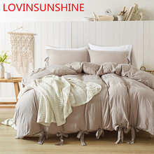 LOVINSUNSHINE Solid Color Tape Bedding Set Butterfly Duvet Cover Pillowcase Set Single Twin Queen King Size 3 pcs we55#
