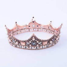 New Bride Wedding Crown Bride Pearl Color Crystal Full Round Crown Princess Headdress Sweet Hair Ornaments Wedding Dress Jewelry