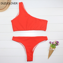 Ribbed Texture One Shoulder Bikini Orange Red Black  Mid Waist Swimsuit Sexy Women Swimwear Top Bandage Thong Bathing Suits