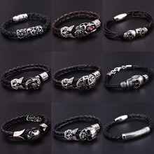 Buy Fashion Men Bracelet Stainless Steel Skull Black Braided Rope Leather Chain Magnet Bracelets Punk Rock Style Bangle Jewelry for $3.67 in AliExpress store