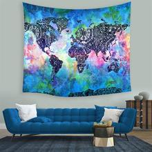 new World Map Tapestry Wall Hanging Indian Mandala Throw Blanket thin Mat Home Room Art Wall Home Textiles free shipping