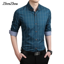 ZhenZhou Plaid Men Shirts Tailoring Slim Fit M-5XL 100% Cotton Mens Dress Shirts Male Clothes Social Casual Shirt Men Brand(China)