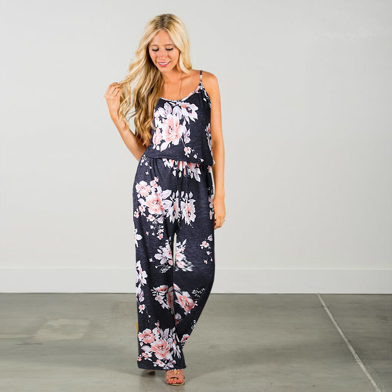 Spaghetti Strap Jumpsuit Women 2018 Summer Long Pants Floral Print Rompers Beach Casual Jumpsuits Sleeveless Sashes Playsuits 42