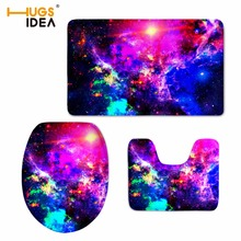 HUGSIDEA WC Toilet Velvet Floor Carpet 3D Galaxy Space Star Printed 3PCS Set Slip Resistance Area Rugs Mats for Bathroom Pads