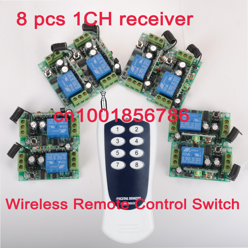 12V 10A 1CH Power Switch RF Wireless Remote Control Switch System transmitter +8 receiver(switch) Output State is Adjustable<br>