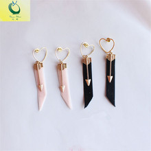 Fashion multi element love Cupid arrow velvet ribbon earrings Black Pink Female sex earrings 2017 earrings wholesale
