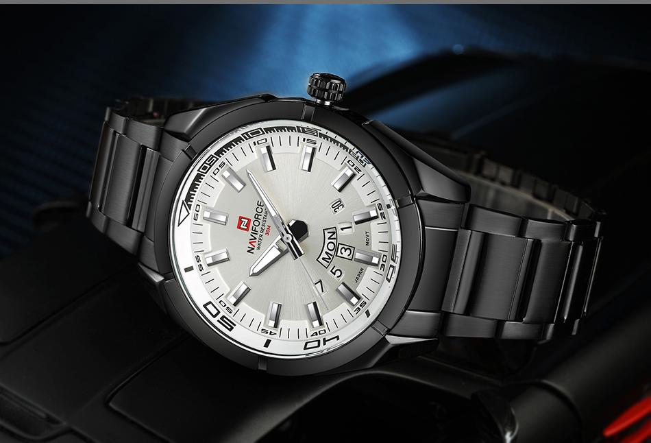 2017 NAVIFORCE Nouveau Top Marque Hommes de Montres Hommes En Acier Plein Imperméable Casual Quartz Date Horloge Mâle montre-Bracelet relogio masculino 12