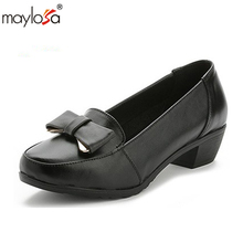 MAYLOSA Genuine leather woman size 9 designer pumps shoes round toe handmade brown black blue oxford shoes for women 2017