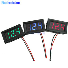 0.56 Inch Mini Red Green Blue LED Display Panel Voltage Meter Voltmeter Home Use Voltage Three Digital DC 4.50V-30.0V Two Wires(China)