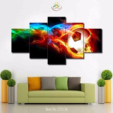 3-4-5 panels/set Abstract Fire Football Modern Home Wall Decor Canvas Picture Art HD Print Painting On Canvas For Living Room(China)