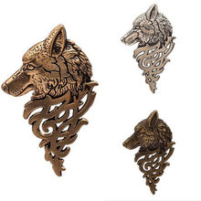 Vintage Wolf Head Brooch Women Men Gold Silver Brown Color Animals Pattern Lapel Clip Pins Suit Collar Jewelry Gifts