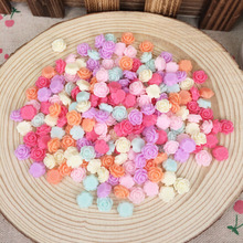 200 Pieces Mixed Color Flatback Flat Back Resin Flower Cabochon Kawaii DIY Resin Craft Decor Scrapbooking Embellishment 8mm(China)