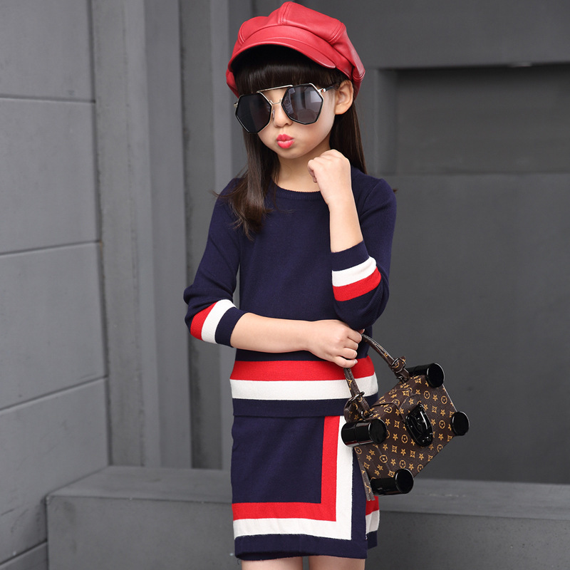 Autumn New Product Girl Child Stripe Knitting Sweater Skirt Suit Two Pieces Kids Clothing Sets<br>