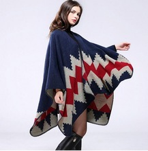 VXO  Hand-stitched diamond thick cloak lengthened split air conditioning warm shawl decorative leopard cloak