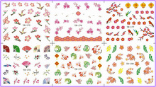 6 PACK/ LOT  WATER DECAL NAIL ART NAIL STICKER PLUM BLOSSOM FLOWER SWALLOW YB175-180