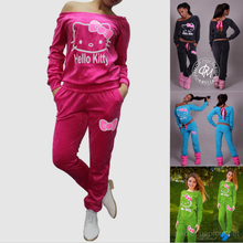 2016 New women Hello Kitty Printed long sleeve Sweatshirts Set home pullover Suit Tracksuits hoodie soft pants+tops