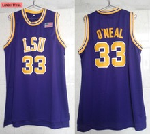 LANSHITINA Men Shaquille O'neal Cheap Throwback Basketball Jersey Shaquille Oneal #33 LSU Tigers College Jerseys Retro Shirts