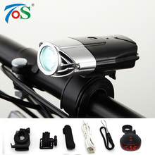 TOS USB Rechargeable Bike Front Light Bicycle Accessories Flashlight Tail rear light set Cycling LED Head Light Waterproof(China)
