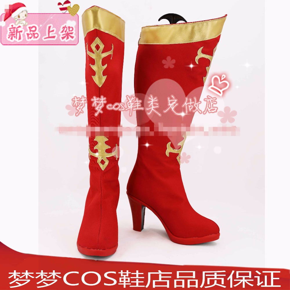 Free Shipping Dota2 Lina Cosplay Shoes Halloween Red High Boots Custom-made