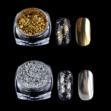 1 Box Glitter Gold Silver Aluminum Flakes Magic Mirror Effect Nail Art Sequins Powder Gel Polish Tips Chrome Pigment Decoration(China)