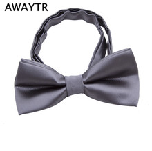 AWAYTR Children Bow Tie Baby Boy Kid Clothing Accessories Solid Color Gentleman Shirt Neck Tie Bowknot Silk Bow Ties(China)