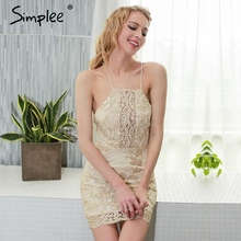 Buy Simplee Halter shoulder summer dress women Hollow party lace dresses 2017 Beach sexy dress robe vestidos