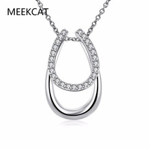 Drop Shipping Lucky filled Rhinestone Double Horse Hoof Horseshoe Pendant Necklace Jewellery fashion necklaces for women 2017