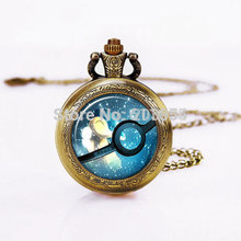 Steampunk Retro 12pcs/lot quartz Pocket Watches Pokemon Ball necklace,Vintage Bronzen Pocketwatch.Printed image Dome Glass women
