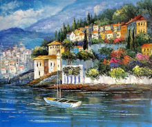 Landscape oil Painting Italy at Dusk The Mediterranean Decorative Art Seascape High quality 100%Hand painted