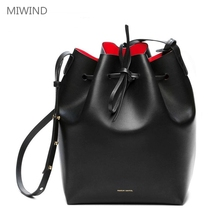 MIWIND Mansur Gavriel Bucket Bag Leather Women Shoulder Famous Brand Luxury Crossbody Bags For Female Drawstring With Purse