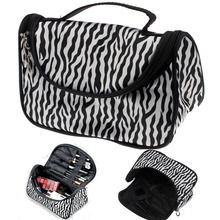 2015 Professional Cosmetic Case Bag Large Capacity Portable Women Makeup cosmetic bags Zebra Print storage travel bags Free Ship