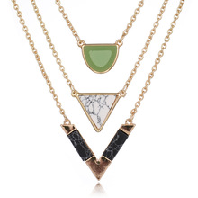 2017 Hot Sale Women Gold Color Punk Necklaces Geometric Triangle Marble Stone Pendant Necklace Vintage Alloy Turquoises Jewelry