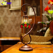 FUMAT Stained Glass Table Lamp European Vintage Flower Shade Table Lamp Living Room Bedside Lights Caffee Bar Light Fixtures(China)