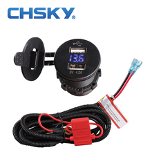 CHSKY Blue LED 5V 4.2A Dual USB Car Cigarette Lighter socket With High Quality Wiring Harness Car Cigarette Lighter Voltmeter(China)