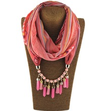 2017 Hot Selling chiffon spring and autumn leather tassel beads Pendant Scarves Necklace for Women WF07